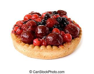 vermelho, frutas, Torta