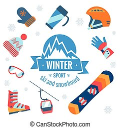 Winter sport icons set - Winter sport accessories. Vector...