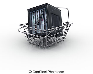 3d server in the cart on the white background