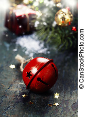 Jingle bell - Christmas Jingle bells on a rustic wooden...