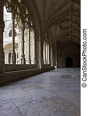 cloister of Jeronimos Monastery - Architecture close up of...