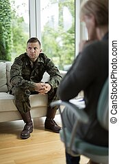 Soldier with posttraumatic stress disorder - Image of...