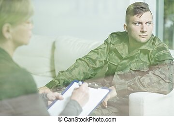 Soldier with mental disorder - Photo of soldier with mental...