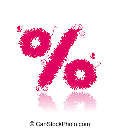 Percent sign shape. Floral design. See also signs in my gallery