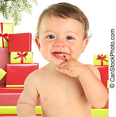 Christmas baby - Adorable ten month old baby boy surrounded...