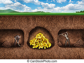 Business people dig a tunnel to treasure - Businessman and...