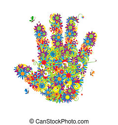 Floral hand shape. See also floral style images in my gallery