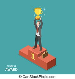 Business award isometric flat vector concept. Businessman in...