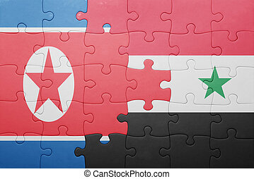 puzzle with the national flag of syria and north korea...