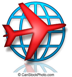 Global Flight - Emblem with blue earth and red airplane over...