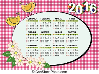 2016 bird italian - 2016 butterfly calendar for children,...
