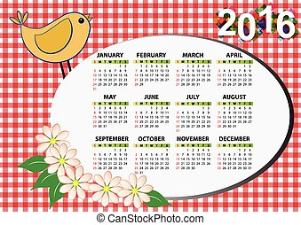 2016 bird - 2016 butterfly calendar for children