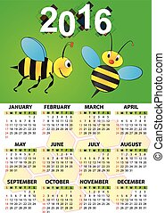 2016 calendar bee - 2016 butterfly calendar for children
