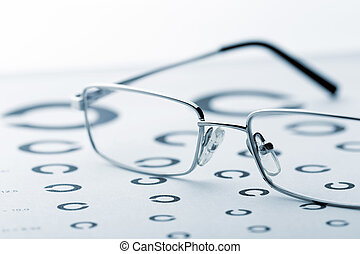 Eye examination chart with glasses