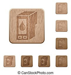 Ink cartridge wooden buttons - Set of carved wooden ink...