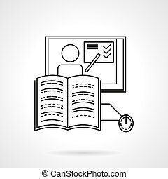 Online training flat line vector icon - Laptop and tutorial....