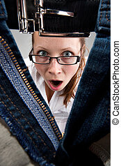 Surprised girl looking inside unzipped pants - Surprised...