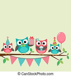 Party owls card - Vector birthday party card with cute owls...