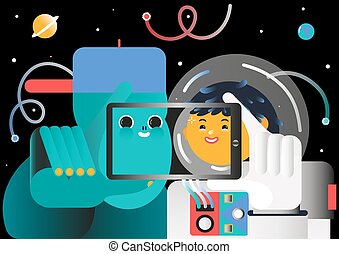 illustration of cosmic tourism - cosmic tourist makes selfie...