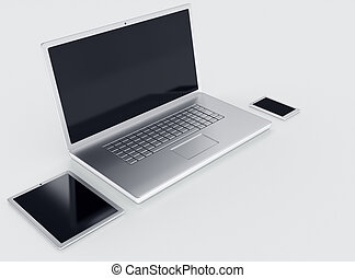 Laptop tablet and smartphone with black empty screens