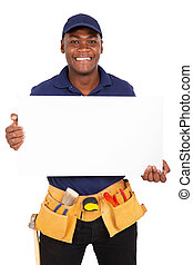 young afro american repairman presenting white board -...