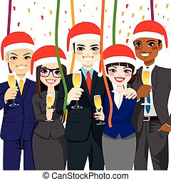 Business Christmas Party - Happy small business people group...