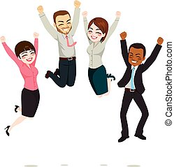 Business Workers Jumping - Happy business workers jumping...