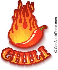 chili pepper in fire - Vector illustration of a chili pepper...
