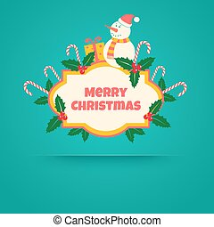 snowman and christmas gifts - Vintage vector banner with...