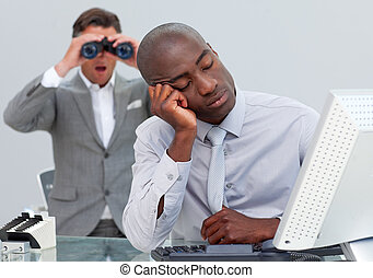 Asleep businessman annoyed by a man looking through...