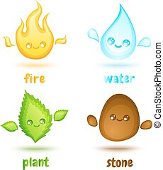 four elements - Vector set icons four elements in kawaii...