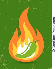jalapeno pepper - Vintage vector illustration of a hot...