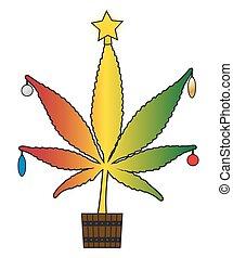 Cannabis Christmas - A Cannabis leaf Christmas tree isolated...