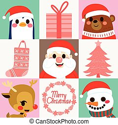 Christmas Characters Elements Cards