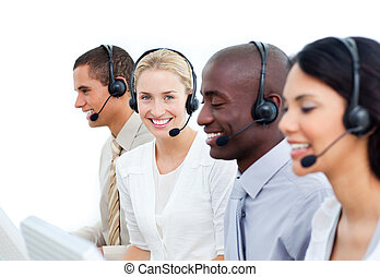 International business people working in a call center