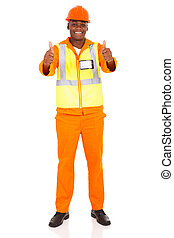 african construction worker giving thumbs up - happy african...