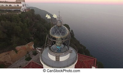 Lighthouse Aerial Shot Sunset View - Mediterranean maritime...