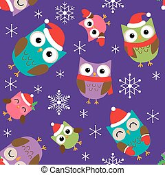 Christmas pattern with owls - Seamless Christmas vector...