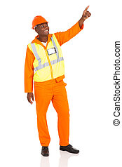african american industrial worker pointing
