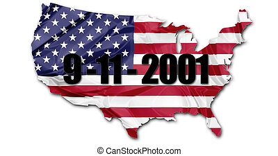 Patriot Day September 11 - The US national flag in map of...