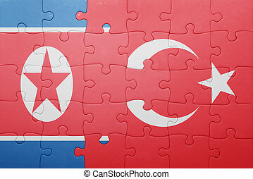 puzzle with the national flag of turkey and north korea...