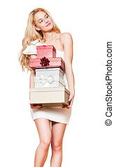 Young blond woman with gift boxes - Portrait of a gorgeous...