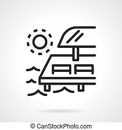 Chaise-lounges on pier black line vector icon - Empty...