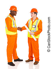 contractors hand shaking - friendly contractors hand shaking...