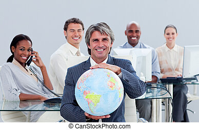 Presentation of an enthusiastic business team