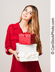 Presents for christmas - Portrait of a gorgeous young woman...