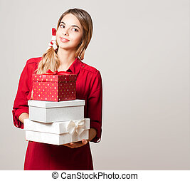Christmas beauty with gift boxes - Portrait of a Christmas...