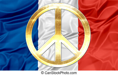French flag with peace symbol - The national flag of France...