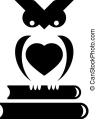 Owl with heart - Cute little owl sits on stack of books