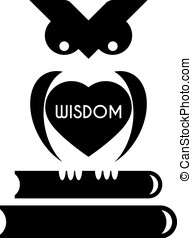 Wise owl with heart - Cute wise owl sits on stack of books